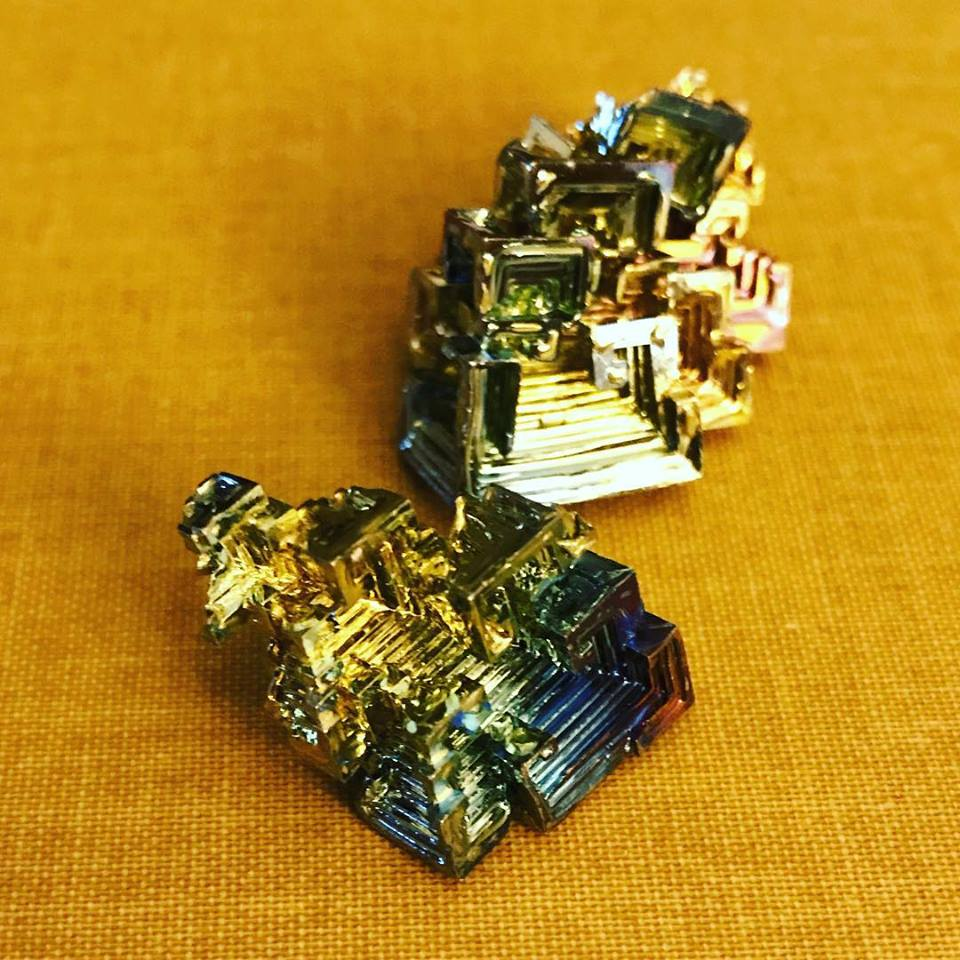 Rainbow colored bismuth crystals